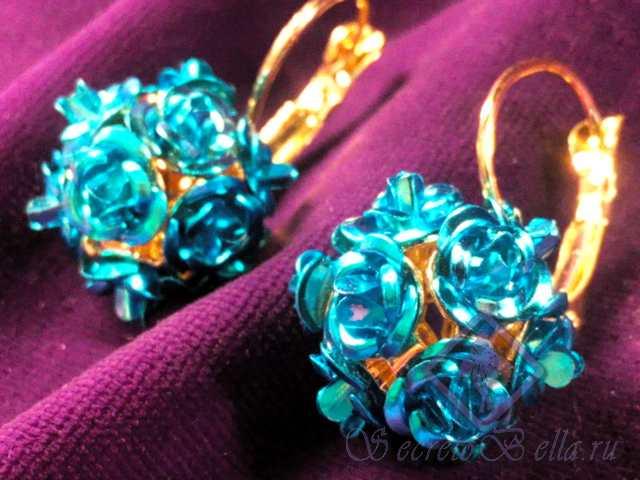 Серьги Голубые розы